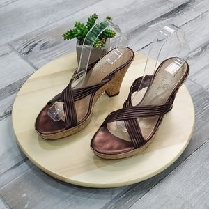 Cole Haan cork Wedge Slide Sandals Leather Size8.5